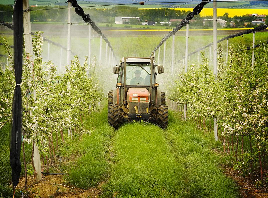 Un champs aspergé d'engrais via Shutterstock