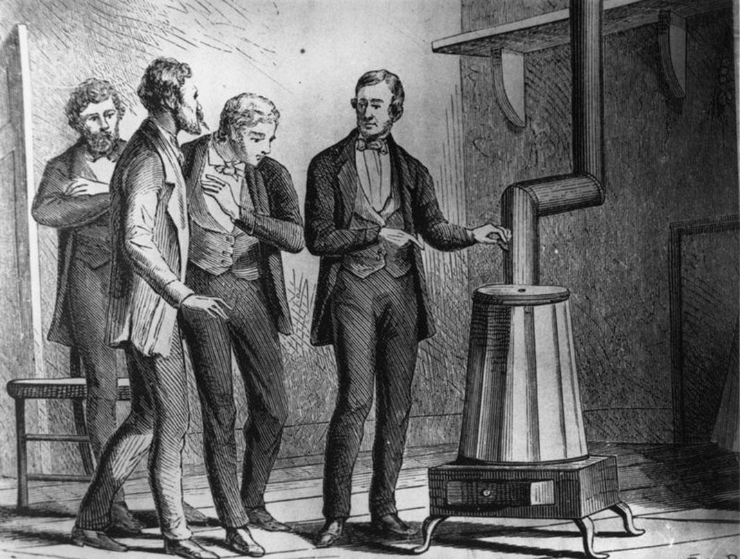 Charles Goodyear présente sa machine à vulcanisation
