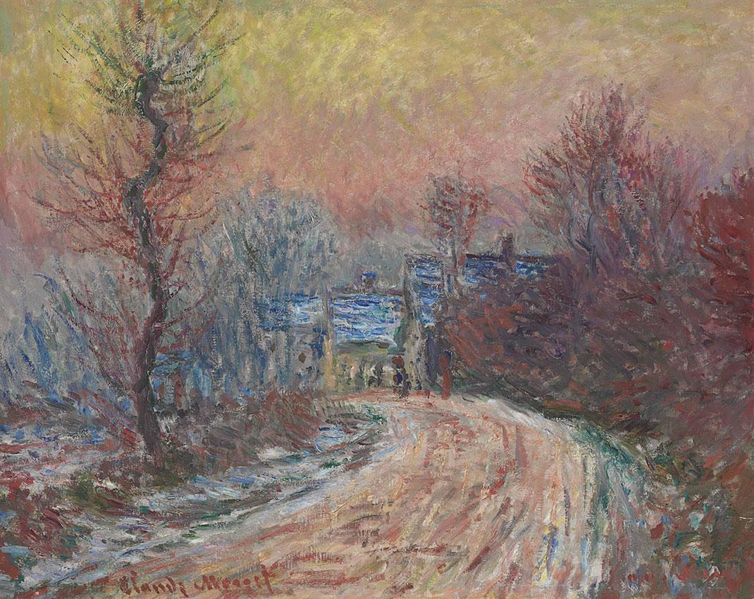 Entrée-de-Giverny-en-hiver,-soleil-couchant