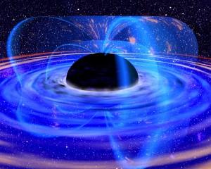 Vue d'artiste d'un trou noir s'évaporant