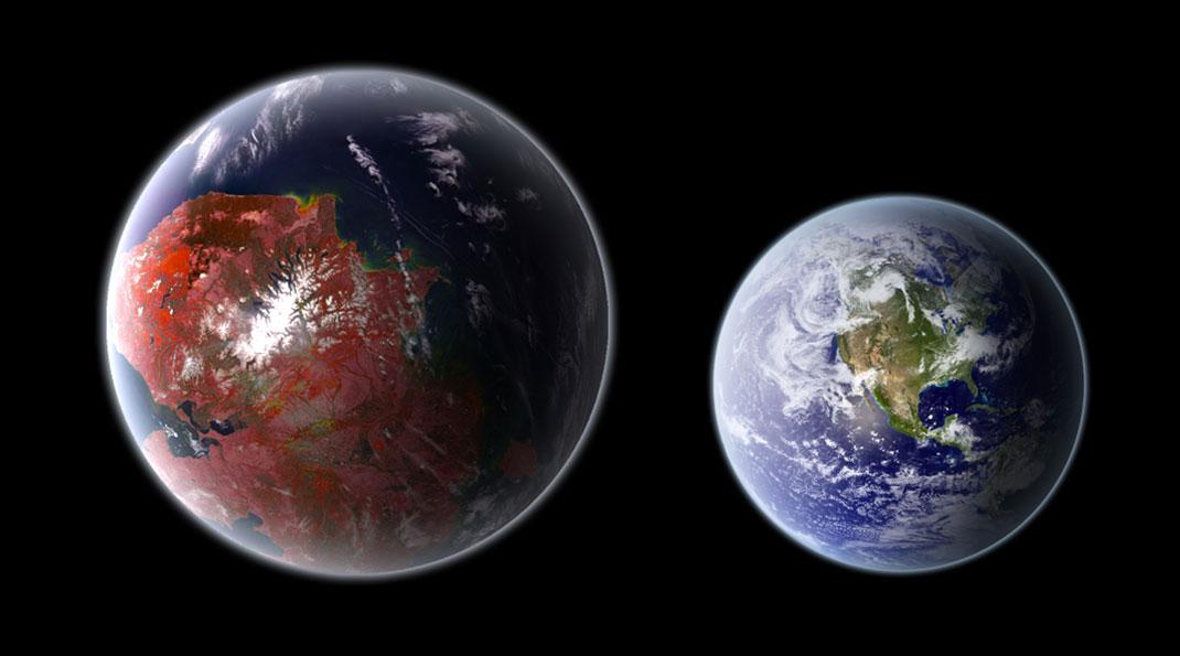 Vue-d'artiste-Kepler-442b-et-la-Terre