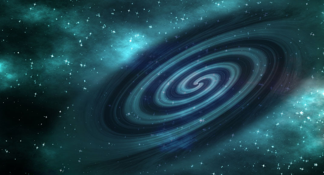 Vue d'artiste d'ondes gravitationnelles via Shutterstock