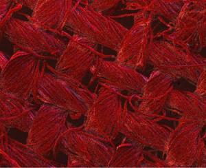 La couleur rouge des fibres de coton indique la présence de nanoparticules de coton. Image agrandie 200 fois