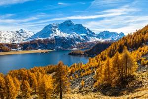 Le lac Sils et le Piz da la Margna dans les Alpes Suisses via Shutterstock
