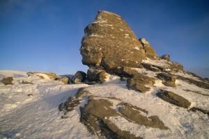 Le sphinx des Bucegi au lever du soleil via Shutterstock