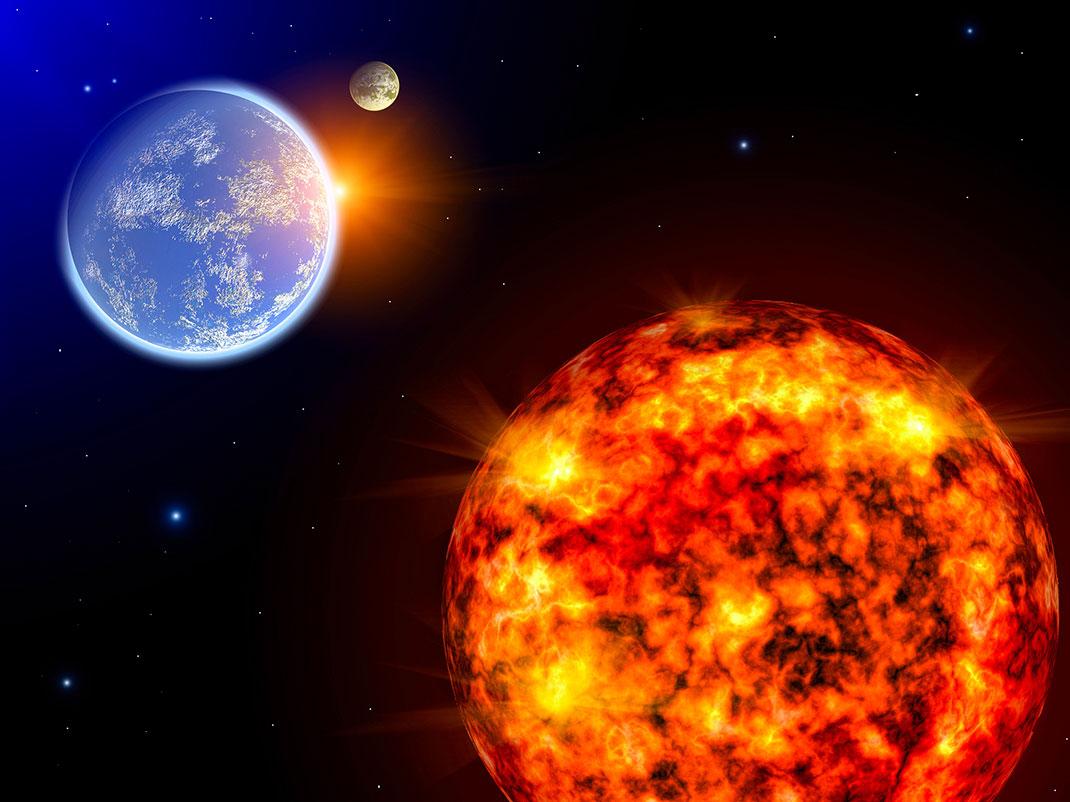 Une tempête solaire via Shutterstock