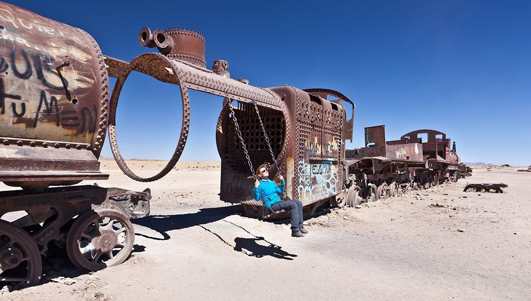 Un cimetière de trains en Bolivie via Shutterstock