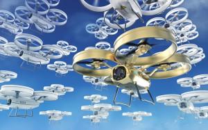 Un essaim de drones dans le ciel via Shutterstock