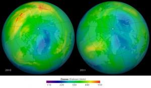 La différence de taux d'ozone dans l'atmosphère entre mars 2010 et mars 2011