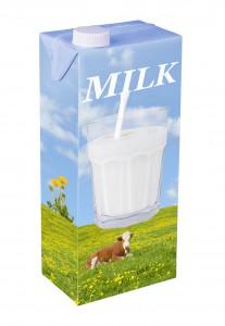 Une brique de lait en carton via Shutterstock