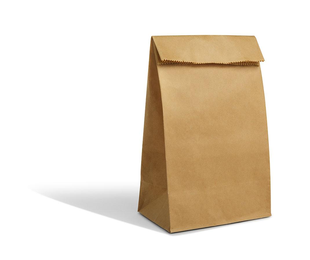 Un sac en papier via Shutterstock