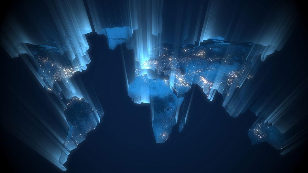 Une carte du monde via Shutterstock