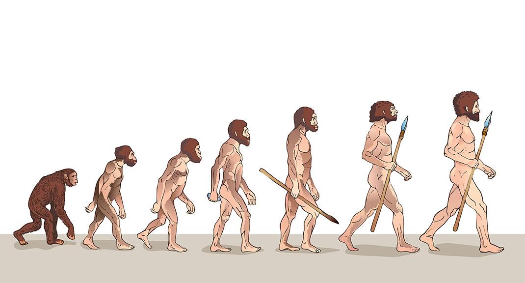L'évolution de l'Homme via Shutterstock