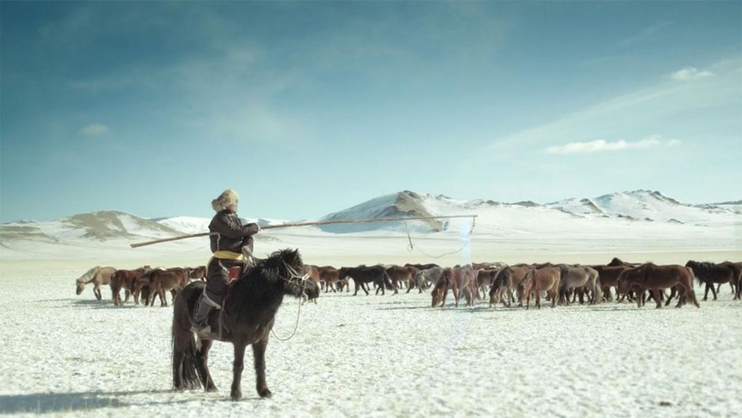 Un mongol et ses chevaux dans le désert via Viméo
