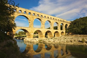 The Roman aqueduct that crosses the Gard river near Nîmes, in the south of France.