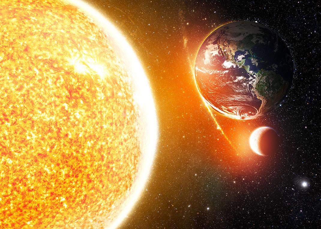 Le Soleil, la Terre et la Lune via Shutterstock