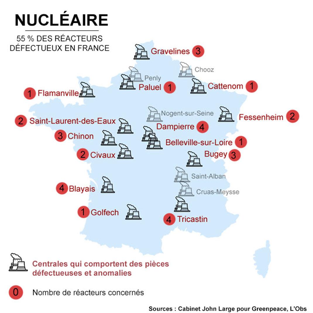 Carte des réacteurs nucléaires défectueux en France par DailyGeekShow