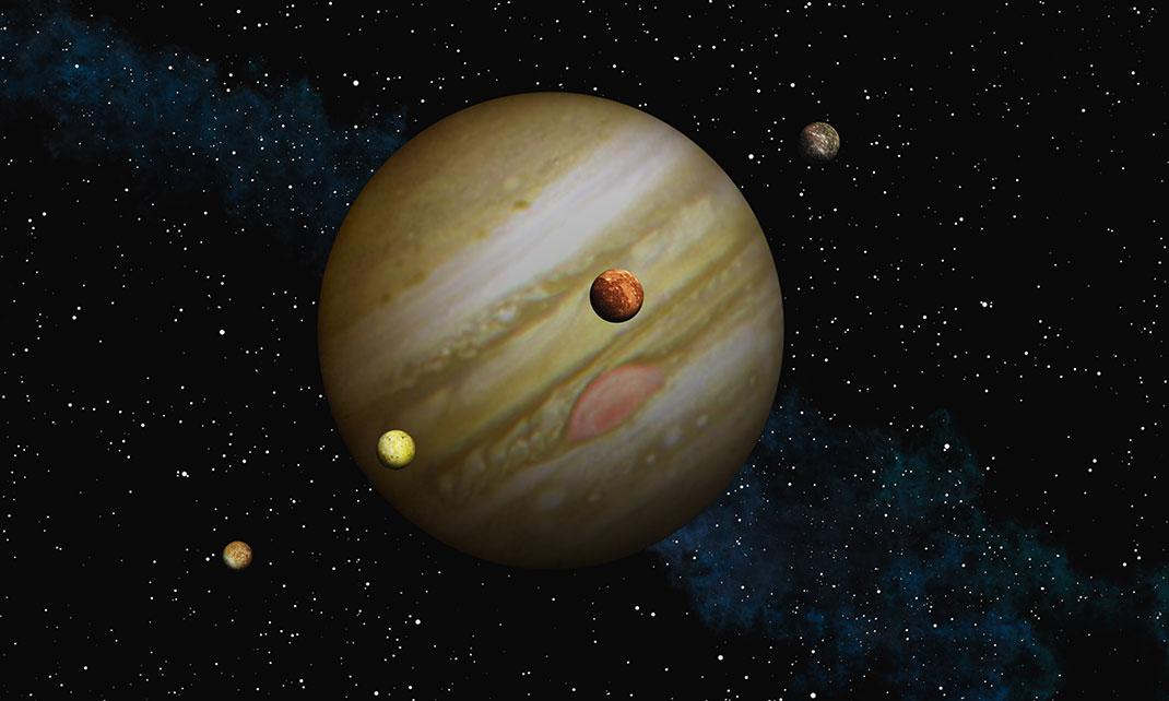 Jupiter et ses quatre satellites via Shutterstock