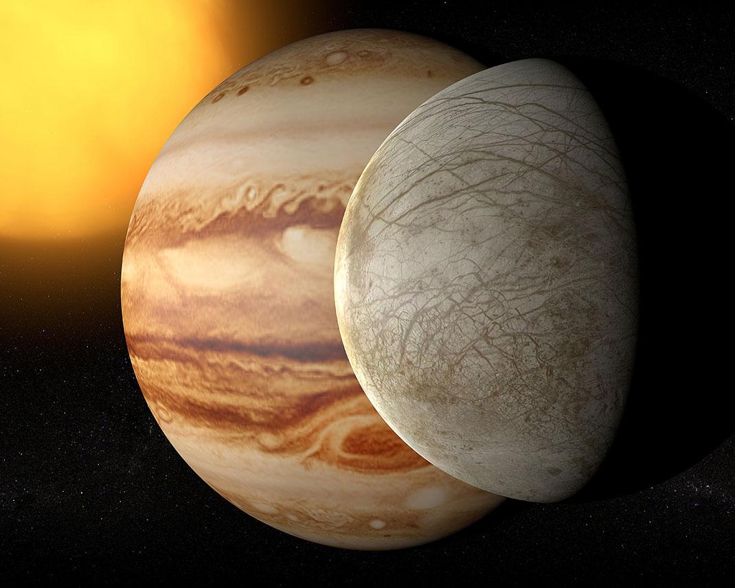 Europe est l'un des quatre satellites de Jupiter via Shutterstuck
