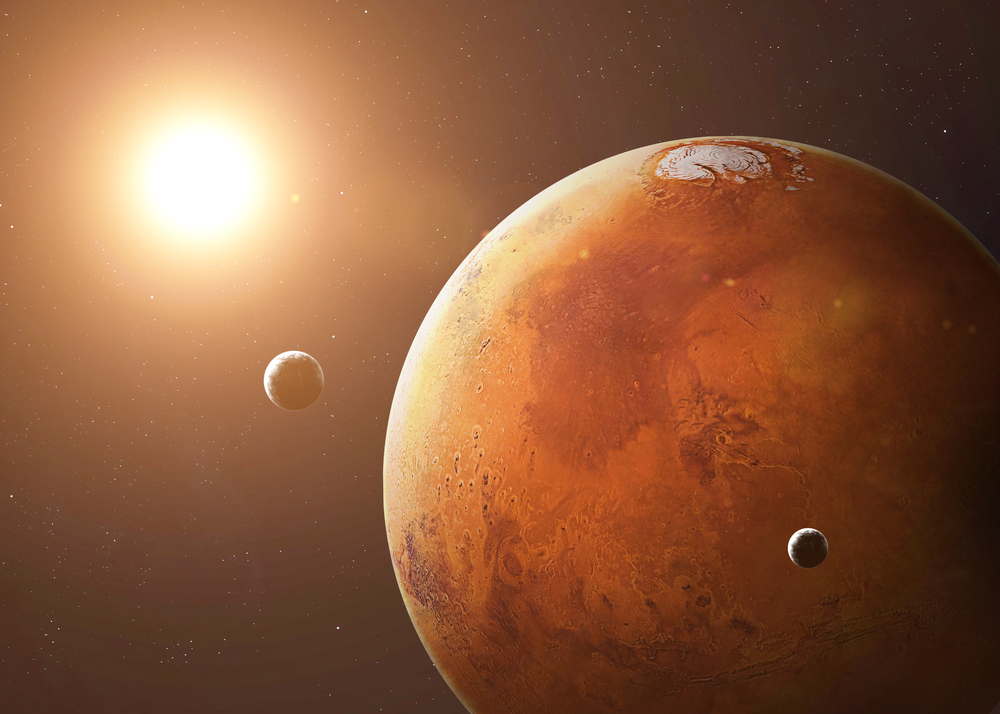 Une image répresentant Mars et ses deux lunes