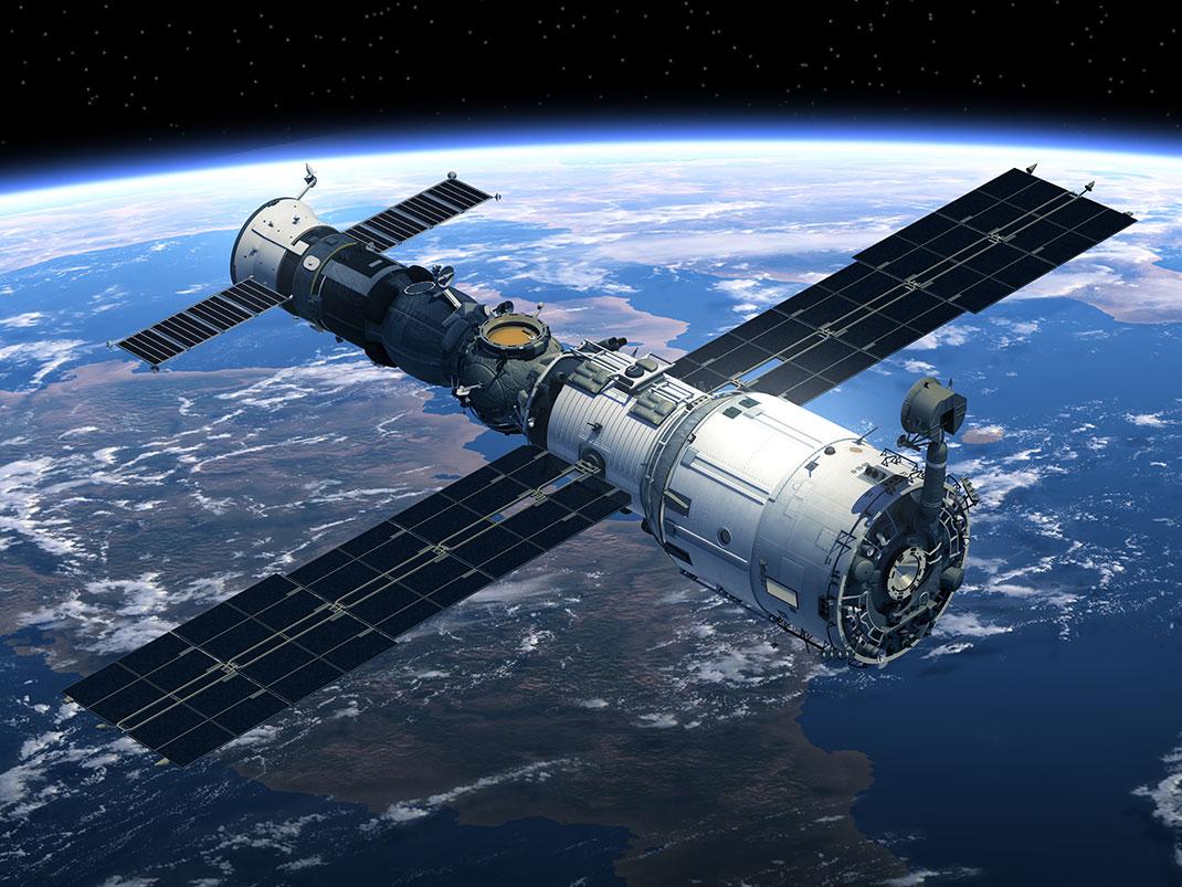 Une station spatiale en orbite via Shutterstock