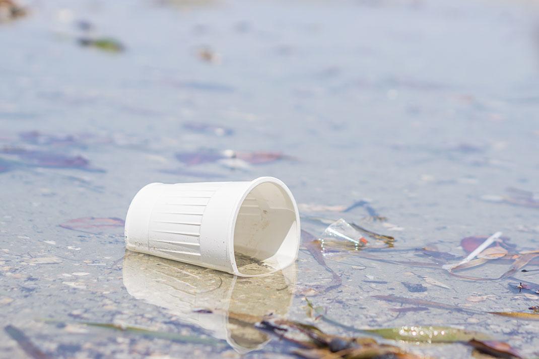 Un verre en plastique sur une plage via Shutterstock