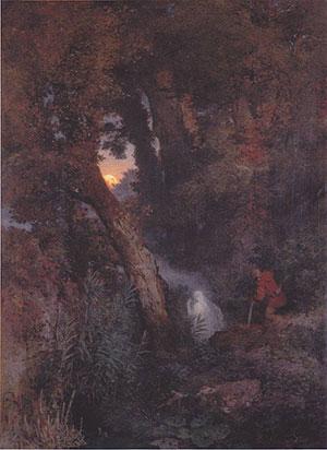 Will-o'-the-wisp par Arnold Böcklin : Jack demande au Diable de monter à l'arbre