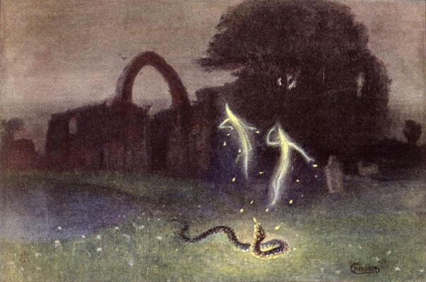The Will o' the Wisp and the Snake by Hermann Hendrich : le feu follet