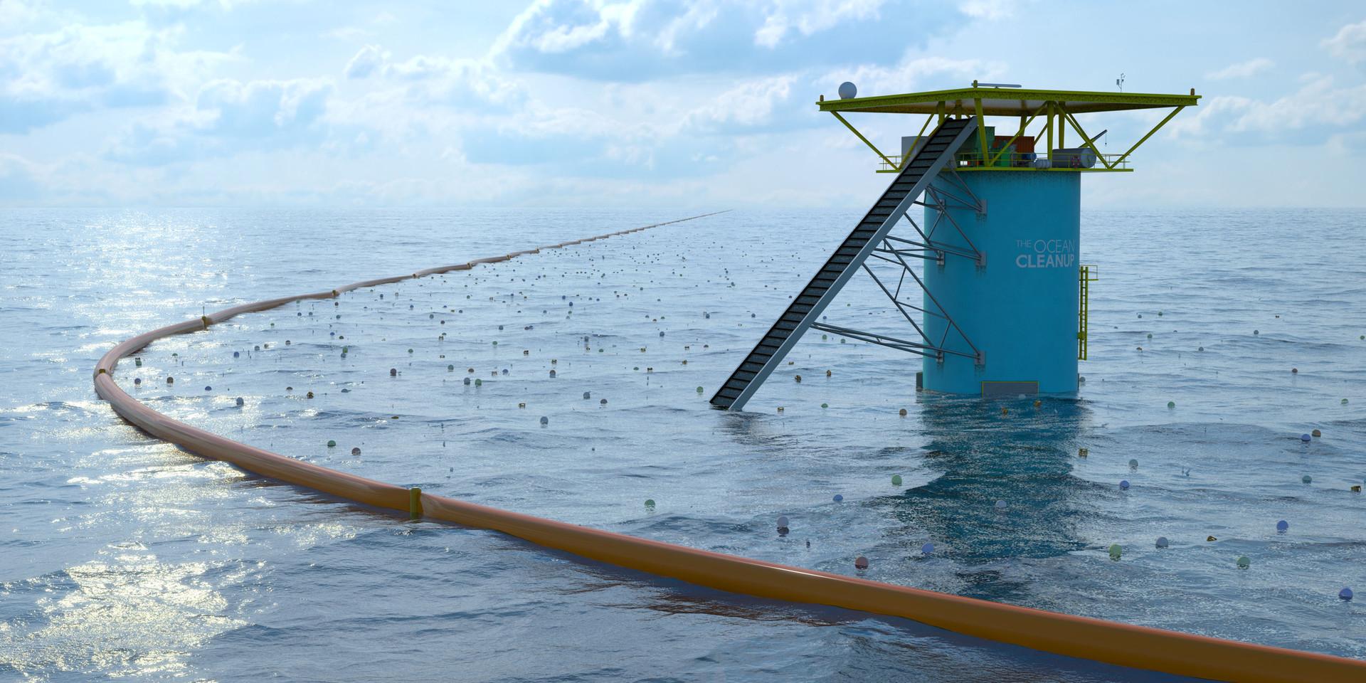 La barrière filtrante de The Ocean Cleanup