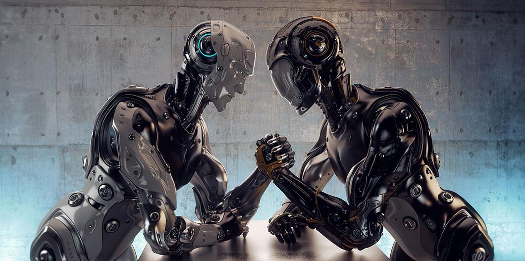 Deux robots dans un bras de fer via Shutterstock