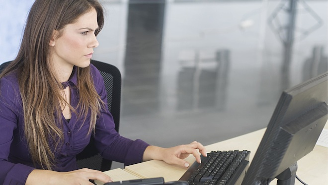 Woman workin at a computer