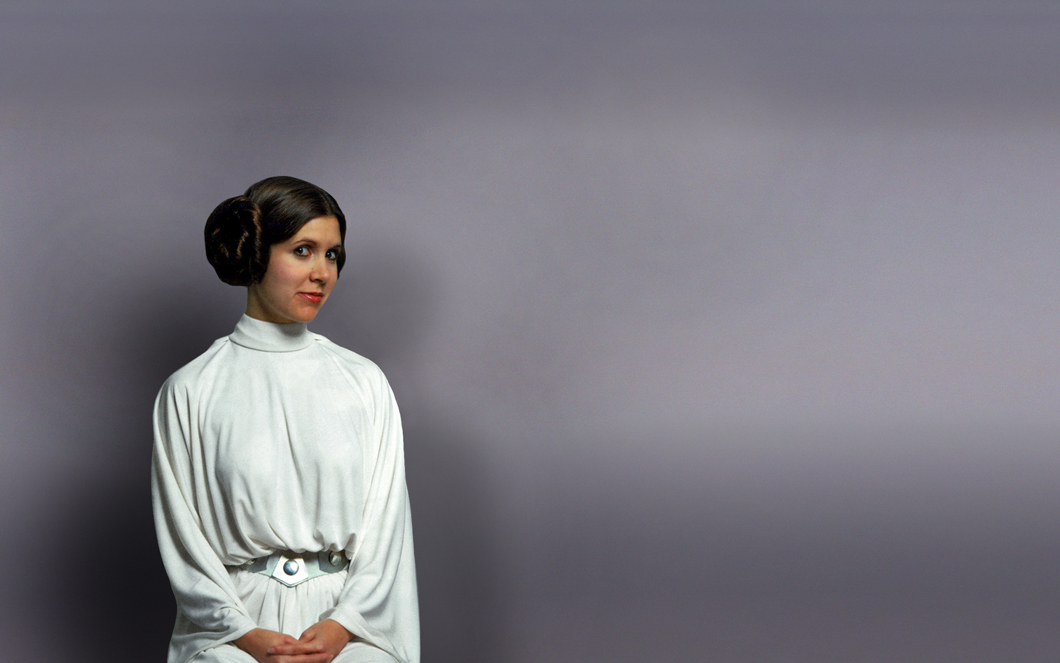 Carrie Fisher en princesse Leia
