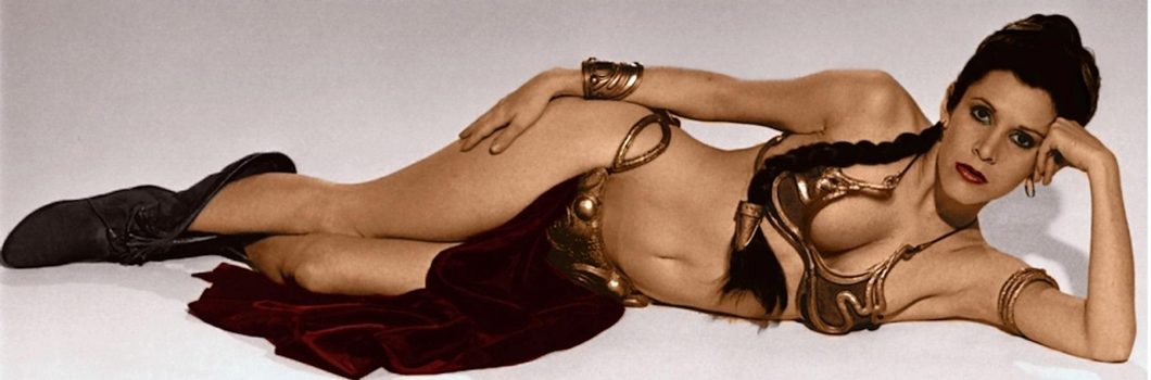 Carrie Fisher dans le fameux bikini de la princesse Leia Organa