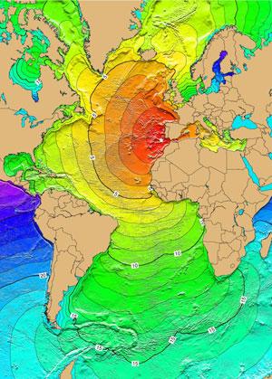 Calculs du temps horaire mis par les tsunamis à travers l'Atlantique le 1er novembre 1755