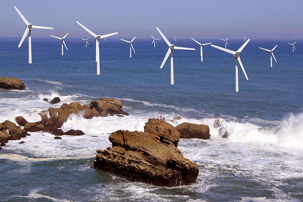 Un parc éolien à proximité d'un récif via Depositphotos