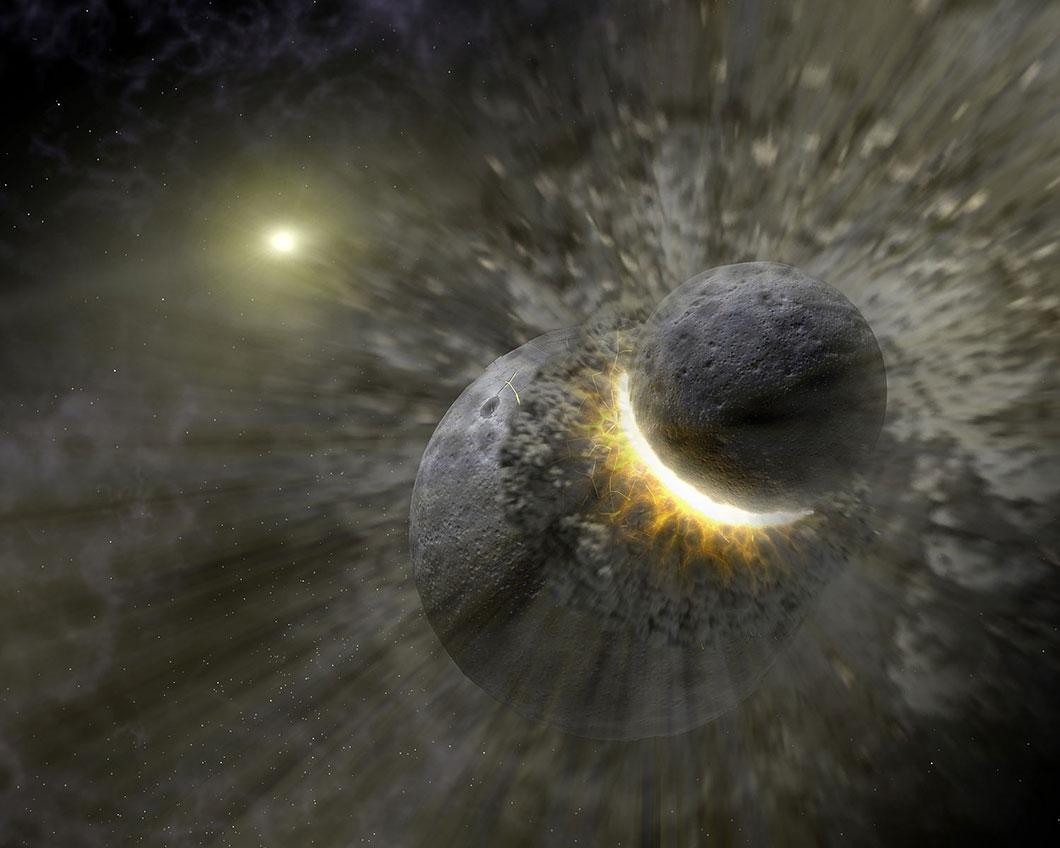 La lune serait issue de la fusion d'une vingtaine de mini-lunes...