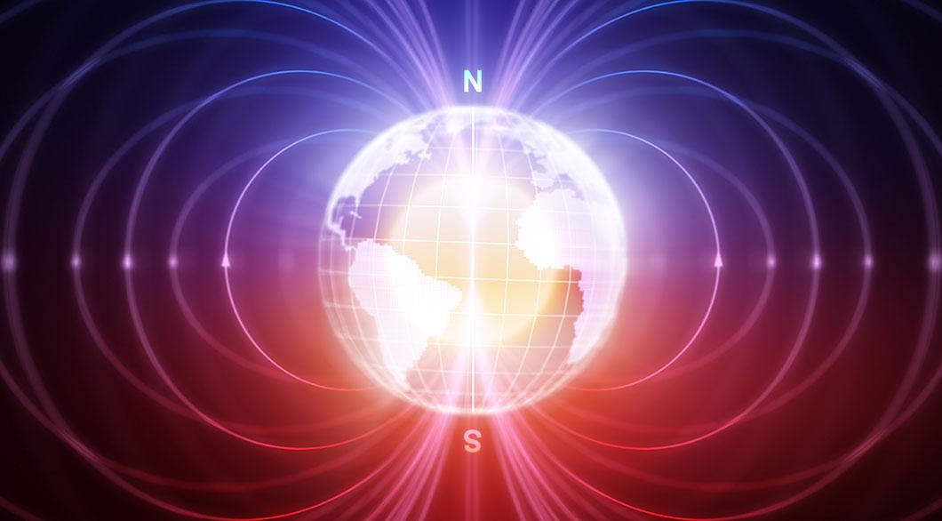 Schéma du champ magnétique de la Terre via Depositphotos
