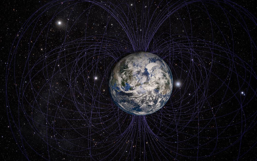 Une représentation du champ magnétique de la Terre via Depositphotos