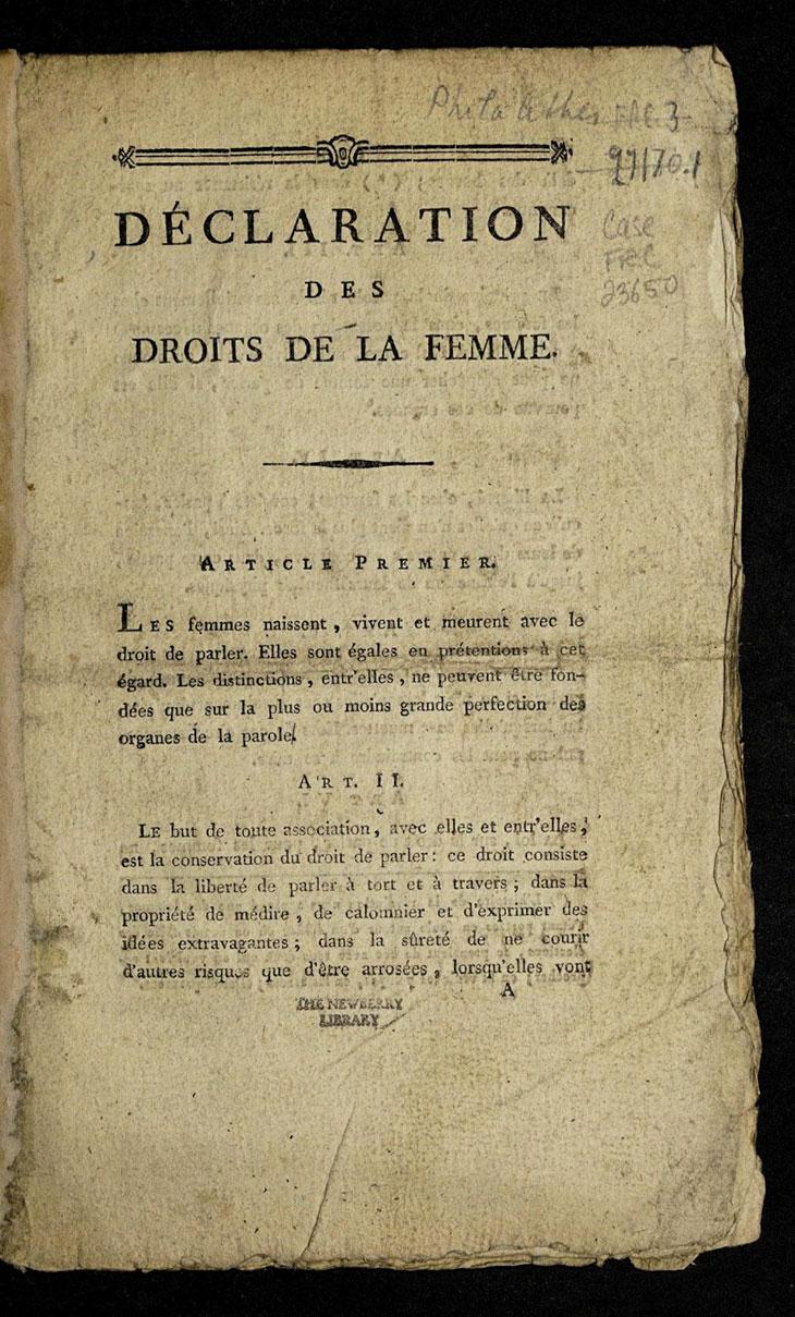 Revivez la Révolution française avec ces 38 000 pamphlets qui viennent d'être dévoilés au public ! Par Mathilde Rochefort                   Declaration-femmes